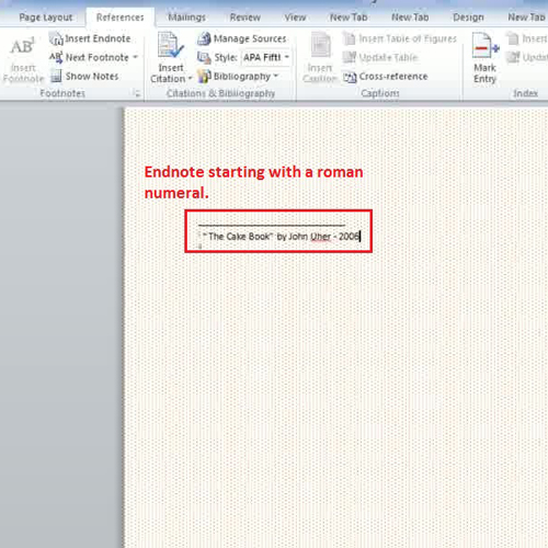 Type the reference to add in endnote