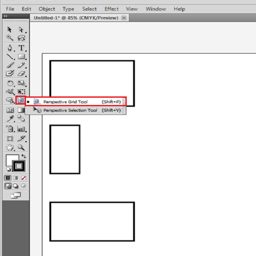 "Choose the ""perspective grid tool"""