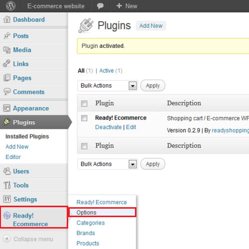 Click on the new plugin's tab