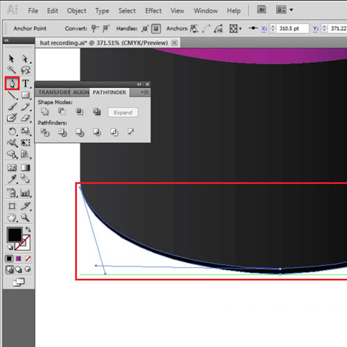 Draw the lower edge