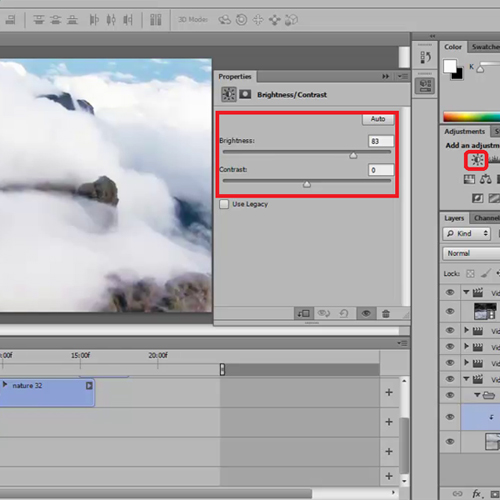 Use adjustment panel to make changes to the video
