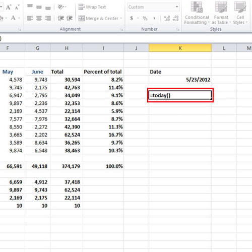 excel how to get computer date
