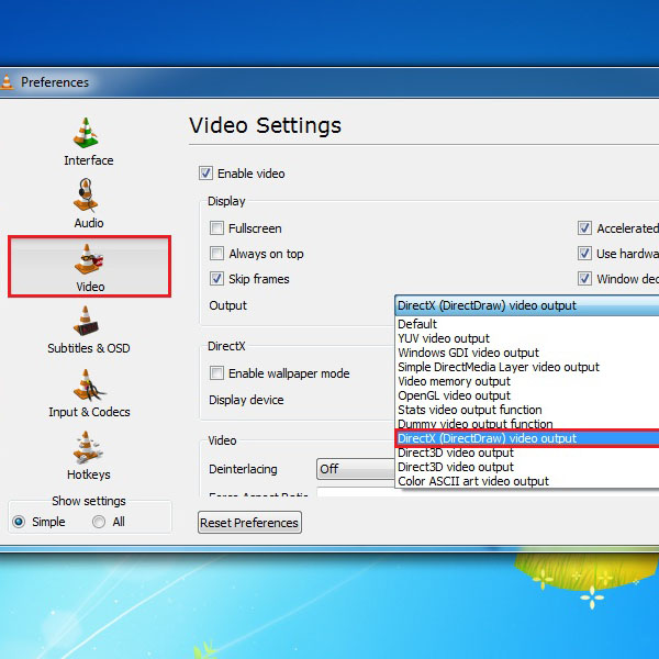 Choose the Direct X video output option
