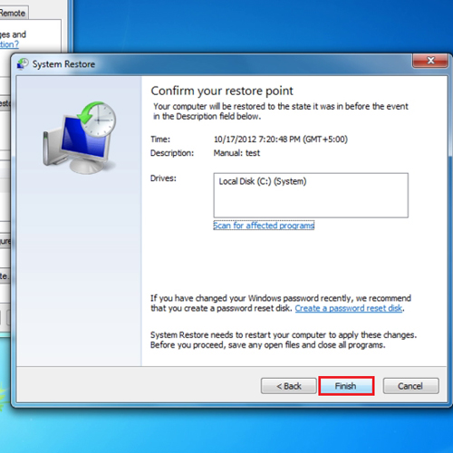 Select the restore point and restore windows