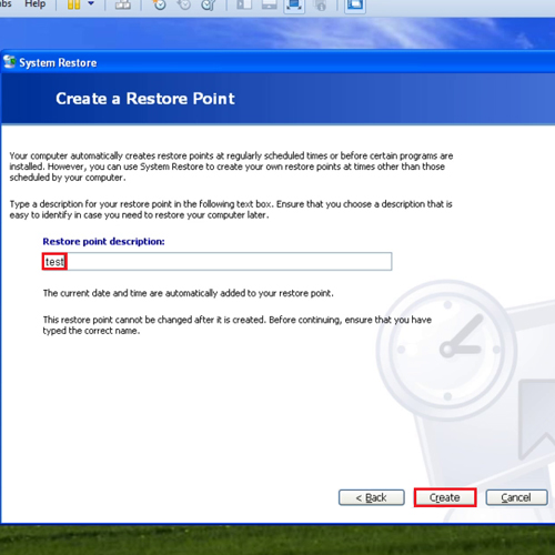 Make a system restore point