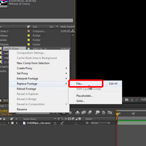 Use Replace Footage option
