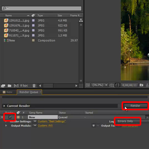 Hit the render button