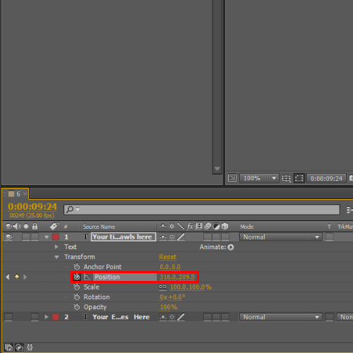 Use position option to configure animation