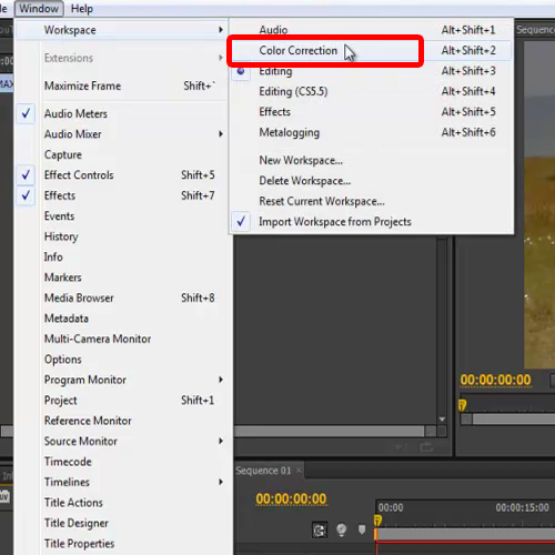 Select Color Correction Workspace