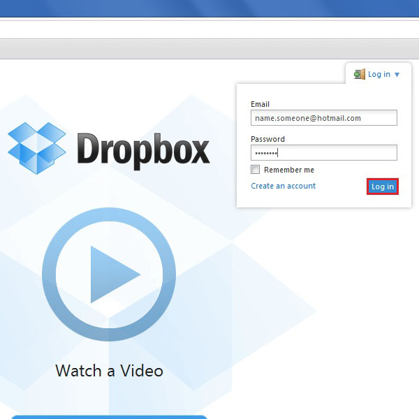 Signing in to Dropbox