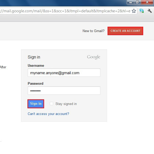 Login to the Gmail account