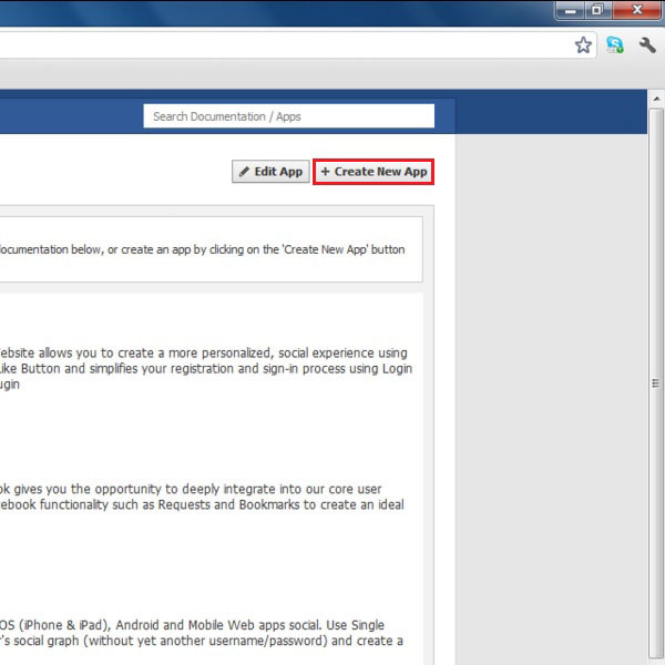 Creating a new app on Facebook