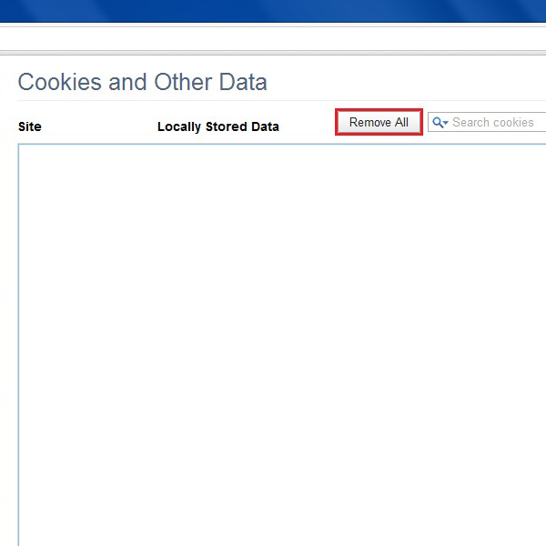 Delete all cookies and browsing data
