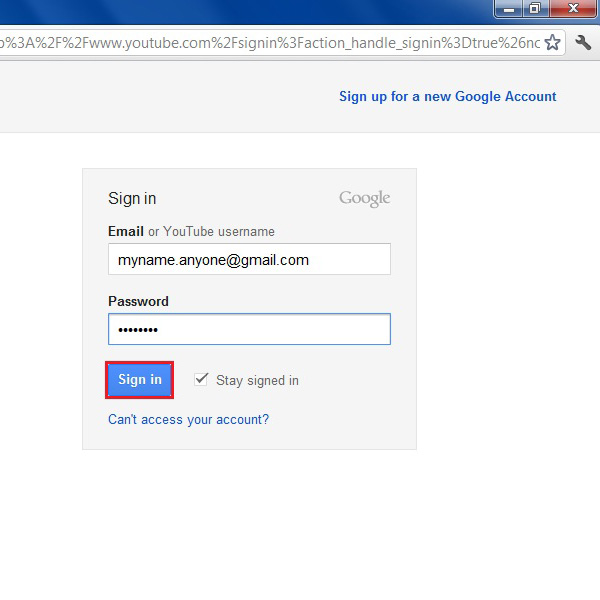 Signing in to gmail