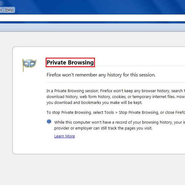 In the private browsing mode