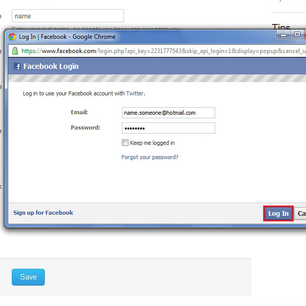 Signing in to the facebook