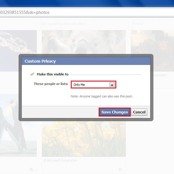 Select you desired privacy settings