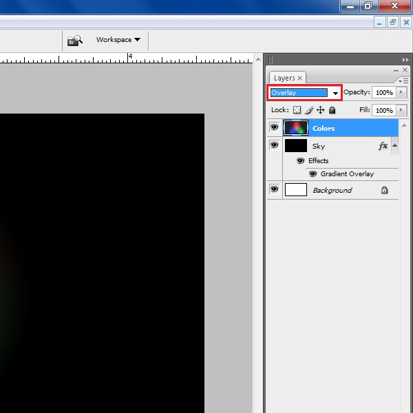 Choose its blending mode to overlay