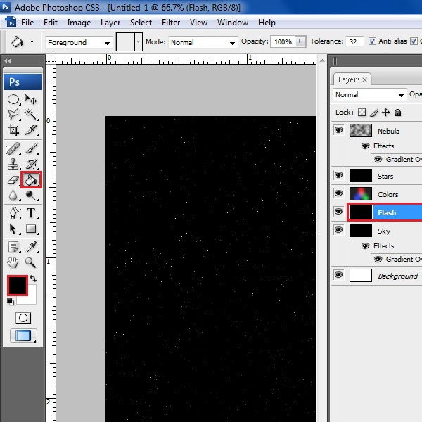 Insert a new layer and fill it with black color