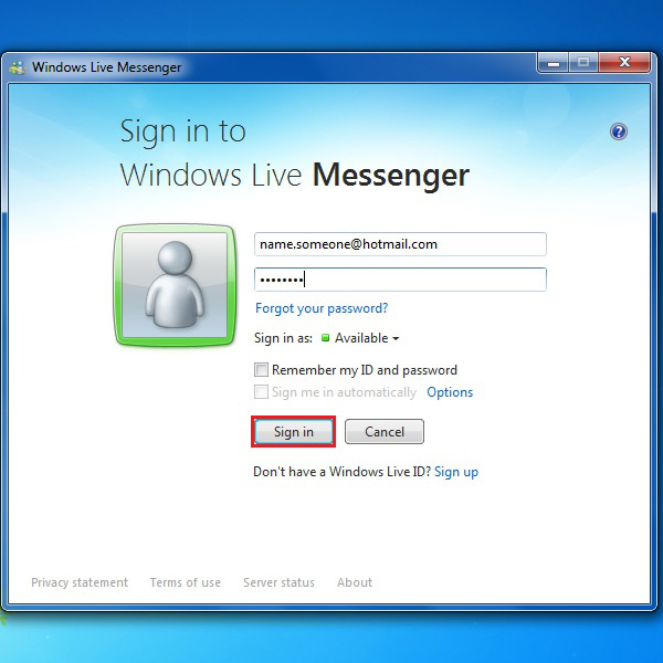 Signing in to windows live