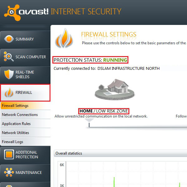 Adjust settings for the firewall