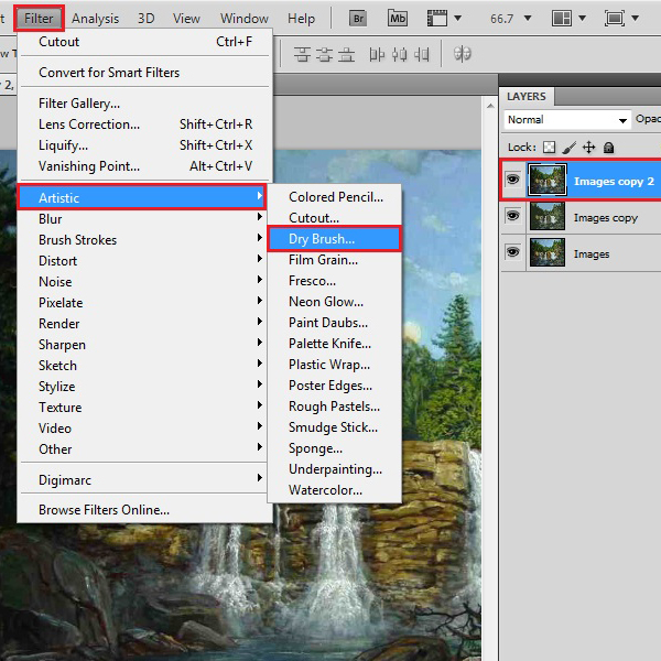 Select a dry brush filter