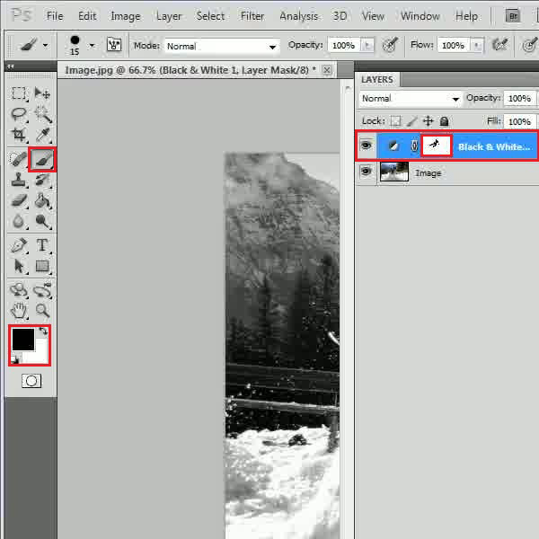 Add a black and white adjustment layer