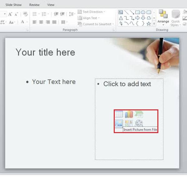 Inserting media files to your presentation