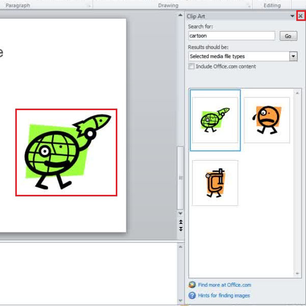 adding and adjusting the clipart