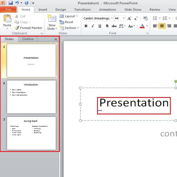 finalizing the overall content in your presentation