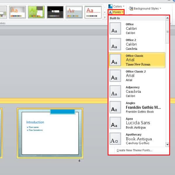 selecting font styles for a section