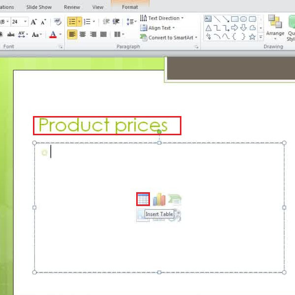 add material to slide layout