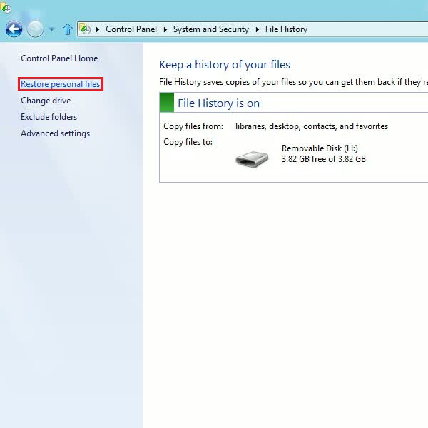 Select the restore personal files option