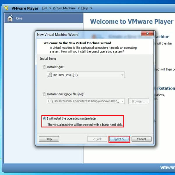 Create a blank virtual machine