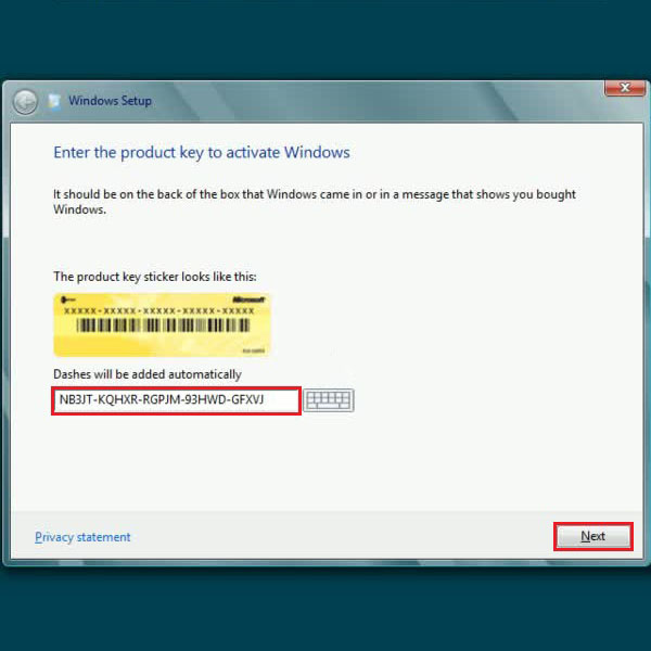 Insert the product key
