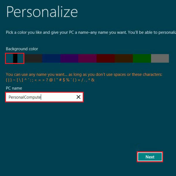 Choose the color and name for pc