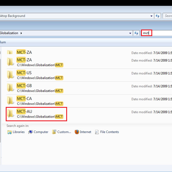 Search MCT in the Globalization window search