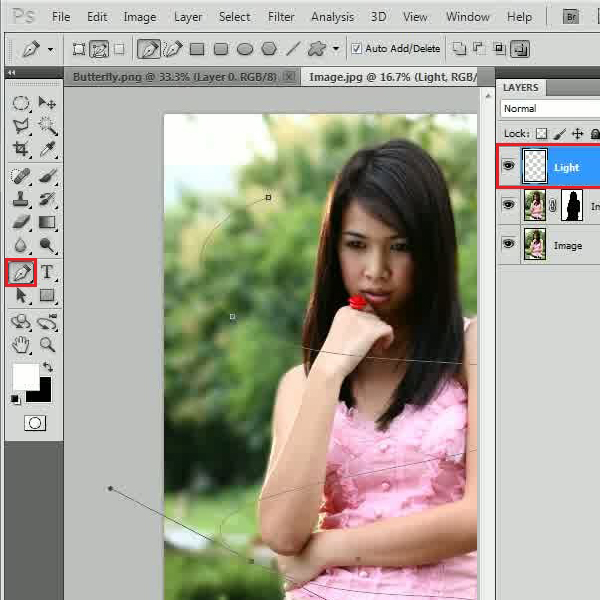 Create a selection with the pen tool