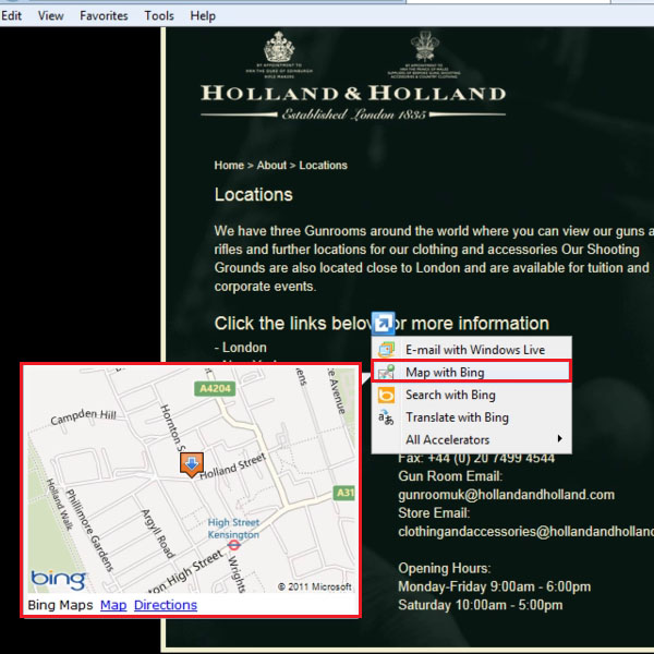 Open Accelerator to use Map with Bing