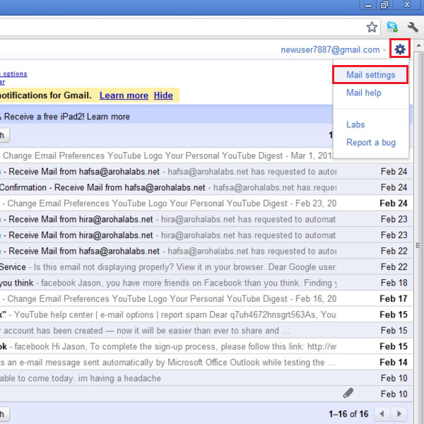 Access Mail Settings