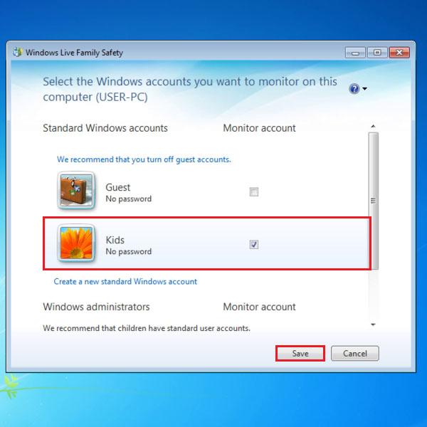 Choose User Account you wish to monitor