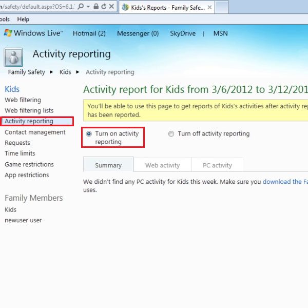 Click on 'Turn on Activity Reporting'