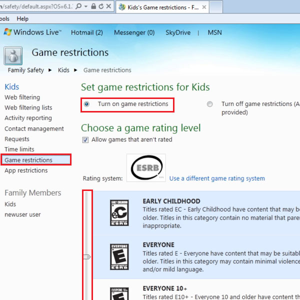 Turn on game restrictions