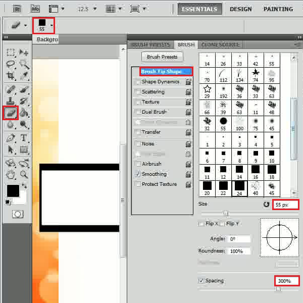 Choose the eraser tool and set the options