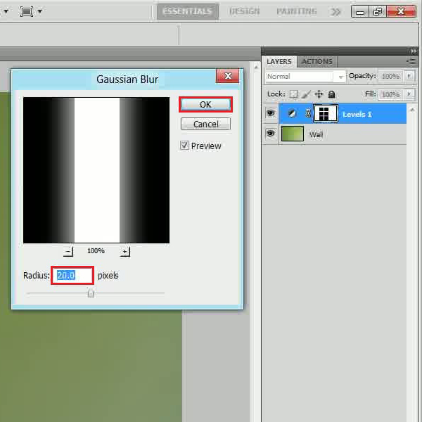 Using a Gaussian blur filter