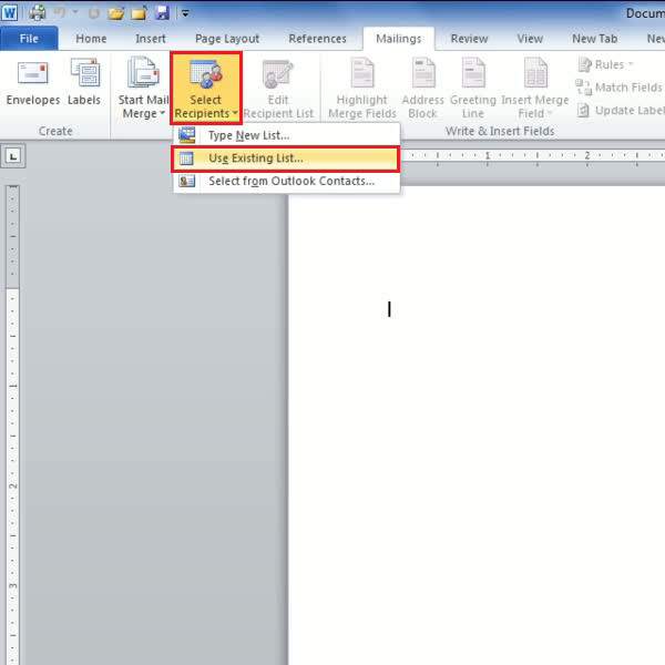 work with letters using mail merge option   <strong>Step # 4- Editing the recipients list</strong></p> <p>Now you will need to insert contact information for recipients whom you wish to send the letter in question to or use a previously created contacts list. You must click on the button titled 'Select Recipients' and select 'Use Existing List'. You can choose the required list from the various previously created contact lists, and click 'open' in order to view the file.</p> <p><center><img src=