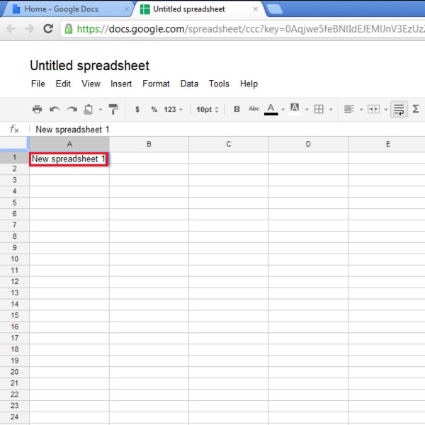 Writing in the spreadsheet