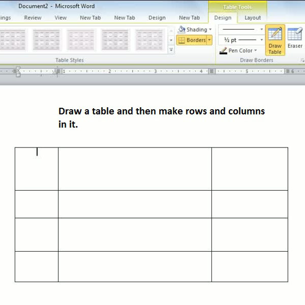 making columns and rows in a table