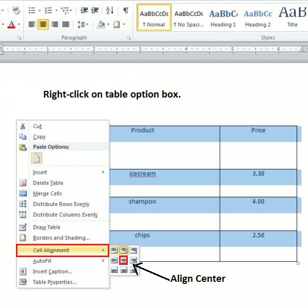 How to create tables from scratch in microsoft word 2010 for Table align center