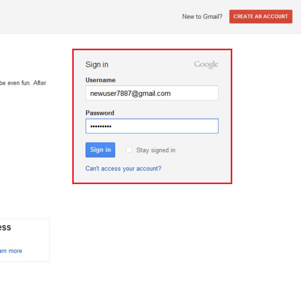 Log into Gmail